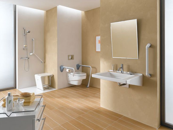 Interior for a person on a wheelchair. Bathroom for the elderly ...